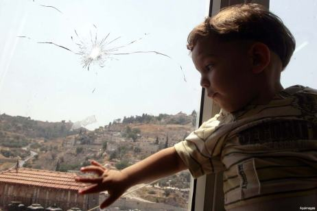 palestinian-child-gun-shot-bullet-hole-window